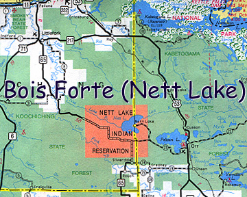 Map of Bois Forte (Nett Lake) Indian Reservation