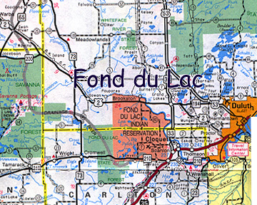 map of Fond du Lac Indian Reservation
