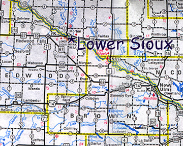 map of Lower Sioux Dakota Community