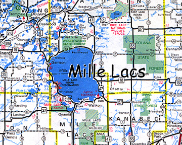 map of Mille Lacs Indian Reservation