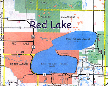 map of Red Lake Indian Reservation